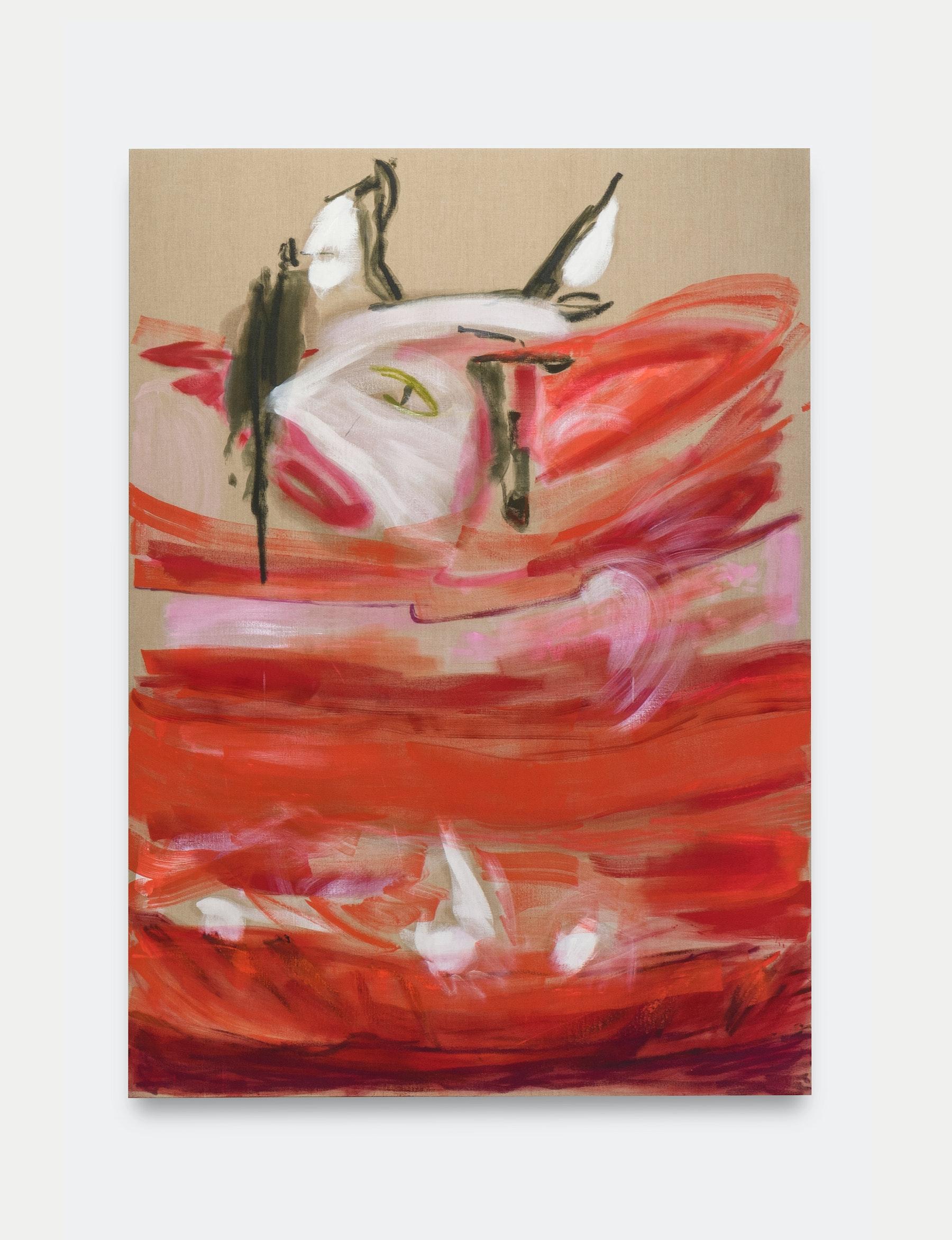 "Monique Van Genderen ""Lou on the Ligne Roset,"" 2020 Oil on linen 90"" x 68"" [HxW] (228.6 x 172.72 cm) Inventory #VGE408 Courtesy of the artist and Vielmetter Los Angeles Photo credit: Jeff McLane"