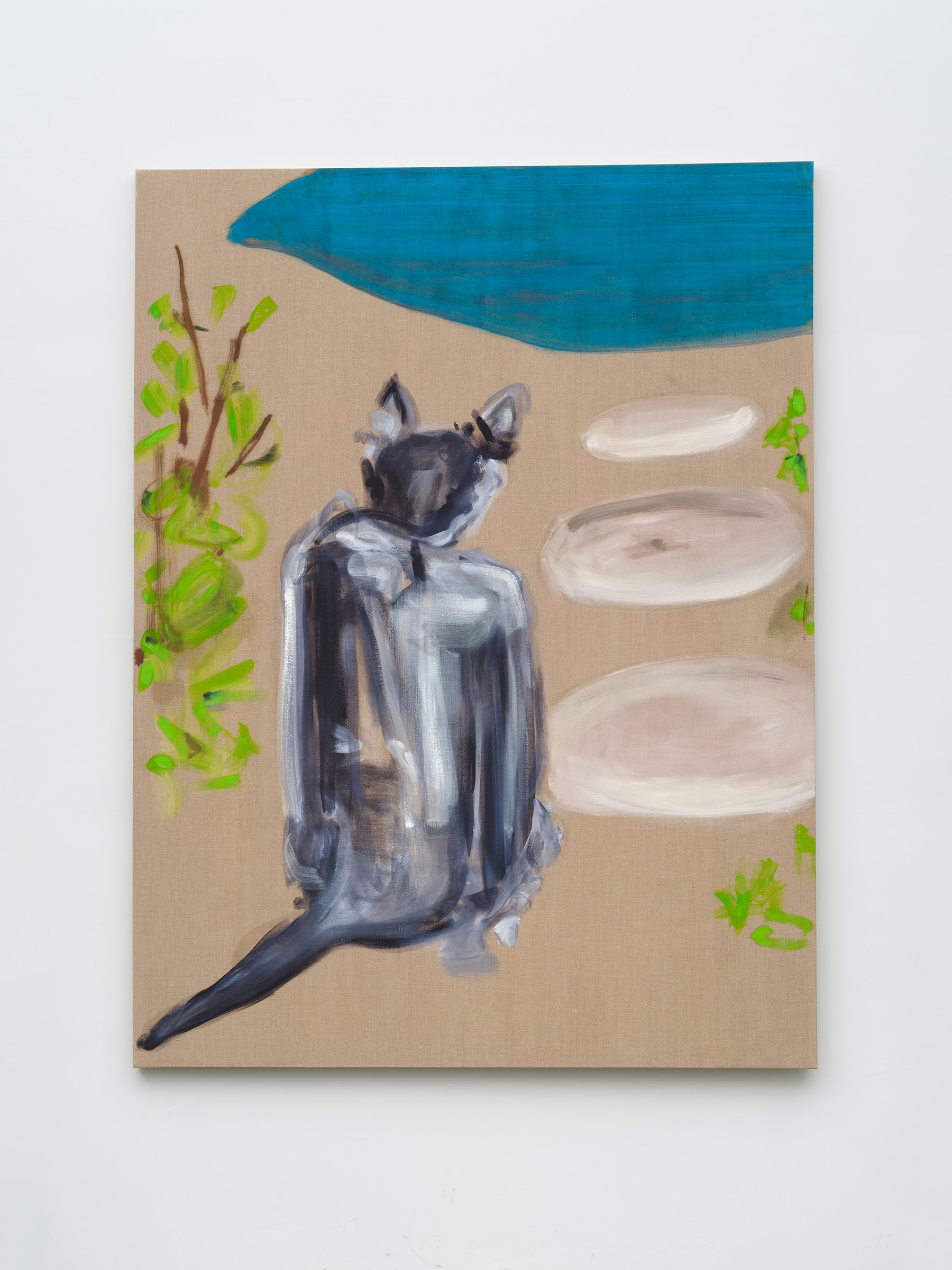 """Monique Van Genderen """"Lou at the Pool,"""" 2019 Oil on linen 90"""" x 68"""" [HxW] (228.6 x 172.72 cm) Inventory #VGE410 Courtesy of the artist and Vielmetter Los Angeles Photo credit: Jeff McLane"""