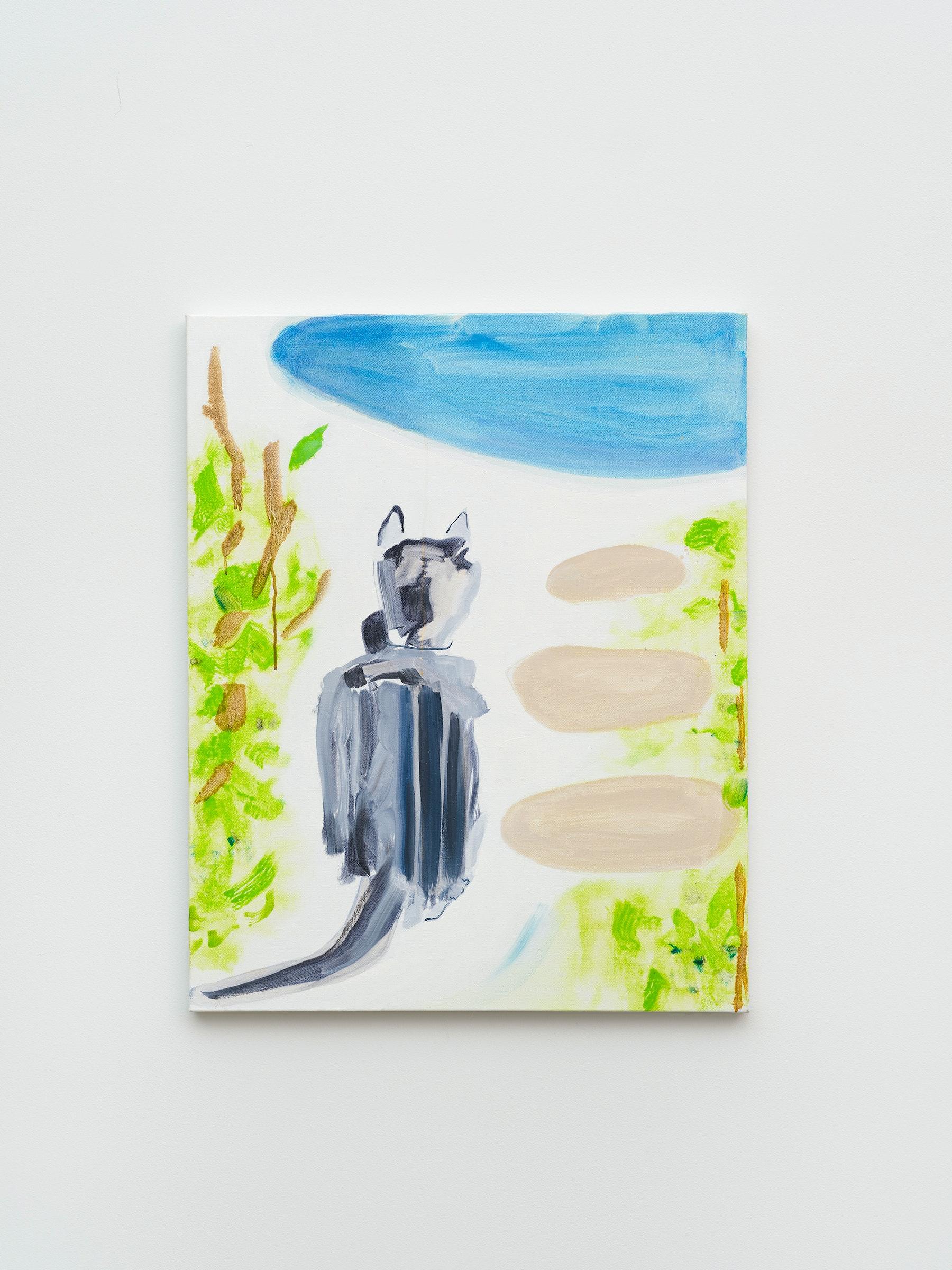 "Monique Van Genderen ""Lou Looking,"" 2018 Oil on linen 18"" x 14 ¹⁄₄"" [HxW] (45.72 x 36.2 cm) Inventory #VGE417 Courtesy of the artist and Vielmetter Los Angeles Photo credit: Jeff McLane"