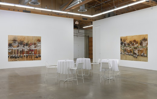 Kim Dingle: I Will Be Your Server (The Los Supper paintings) Installation view