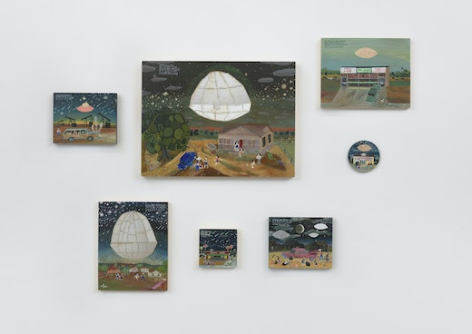 """""""Esther Pearl Watson: Tire Universe"""" Installation view"""