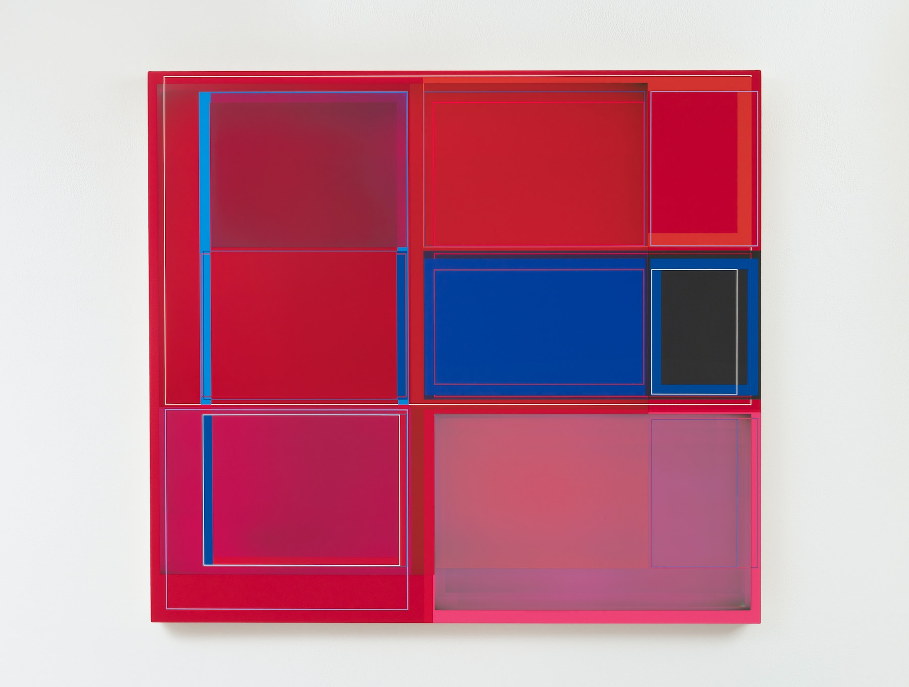 """Patrick Wilson """"Disrupted Grid (Red),"""" 2020 Acrylic on canvas 37 x 41"""" [HxW] (93.98 x 104.14 cm) Inventory #WIL564 Courtesy of the artist and Vielmetter Los Angeles Photo credit: Robert Wedemeyer"""