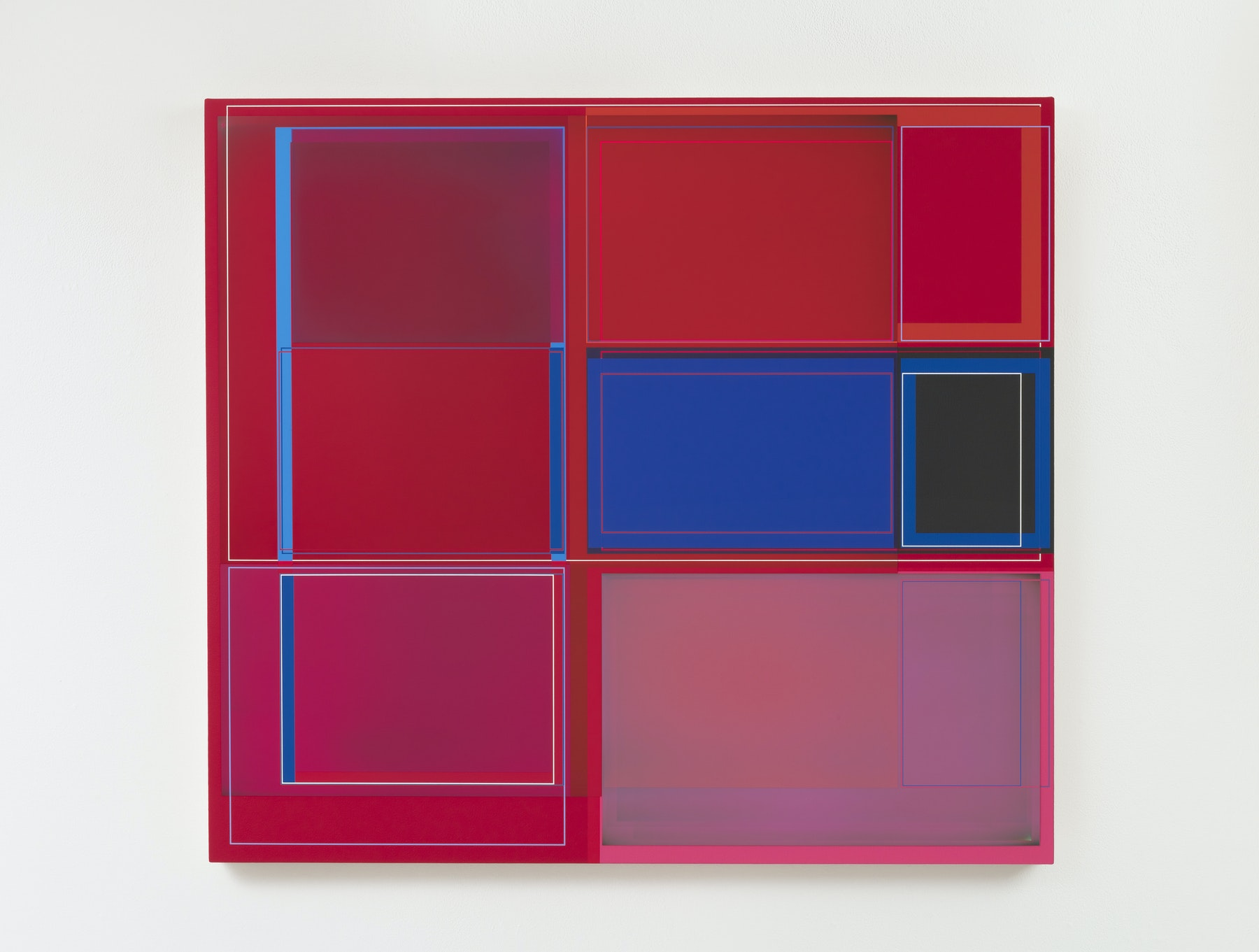 "Patrick Wilson ""Disrupted Grid (Red),"" 2020 Acrylic on canvas 37 x 41"" [HxW] (93.98 x 104.14 cm) Inventory #WIL564 Courtesy of the artist and Vielmetter Los Angeles Photo credit: Robert Wedemeyer"