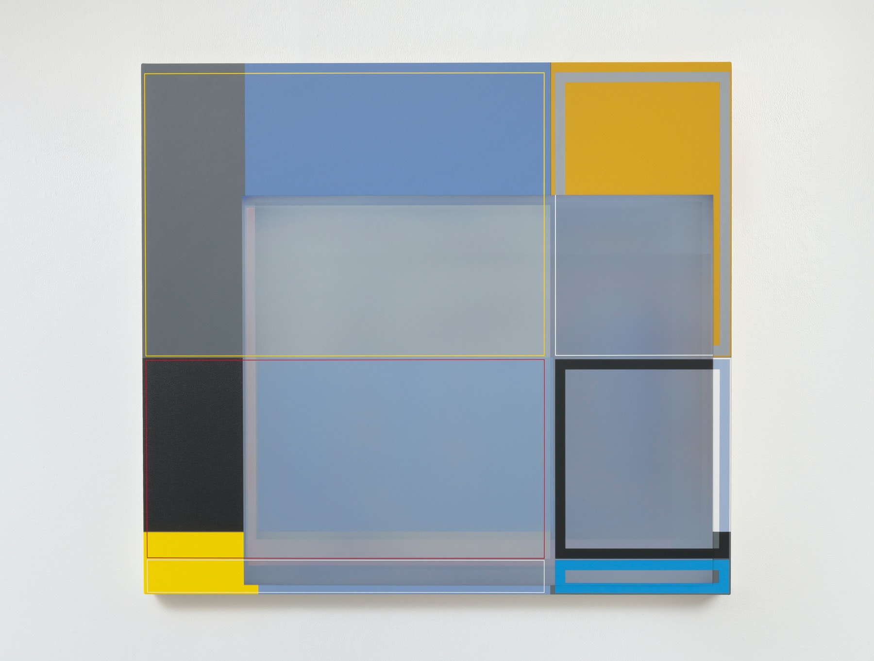 """Patrick Wilson """"Disrupted Grid (Gray),"""" 2020 Acrylic on canvas 37 x 41"""" [HxW] (93.98 x 104.14 cm) Inventory #WIL565 Courtesy of the artist and Vielmetter Los Angeles Photo credit: Robert Wedemeyer"""