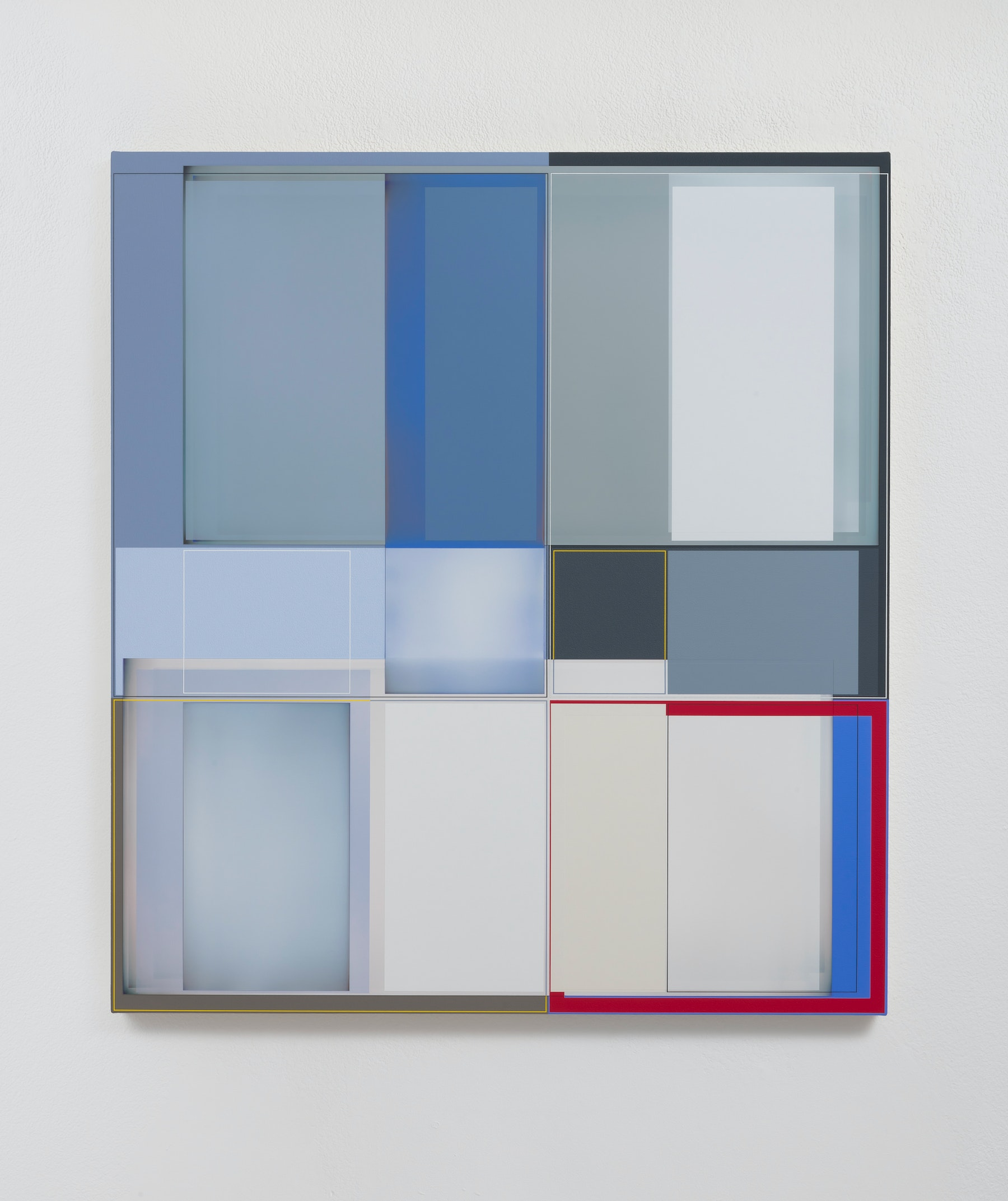 """Patrick Wilson """"Disrupted Grid (Health),"""" 2020 Acrylic on canvas 41"""" x 37"""" [HxW] (104.14 x 93.98 cm) Inventory #WIL576 Courtesy of the artist and Vielmetter Los Angeles Photo credit: Robert Wedemeyer"""