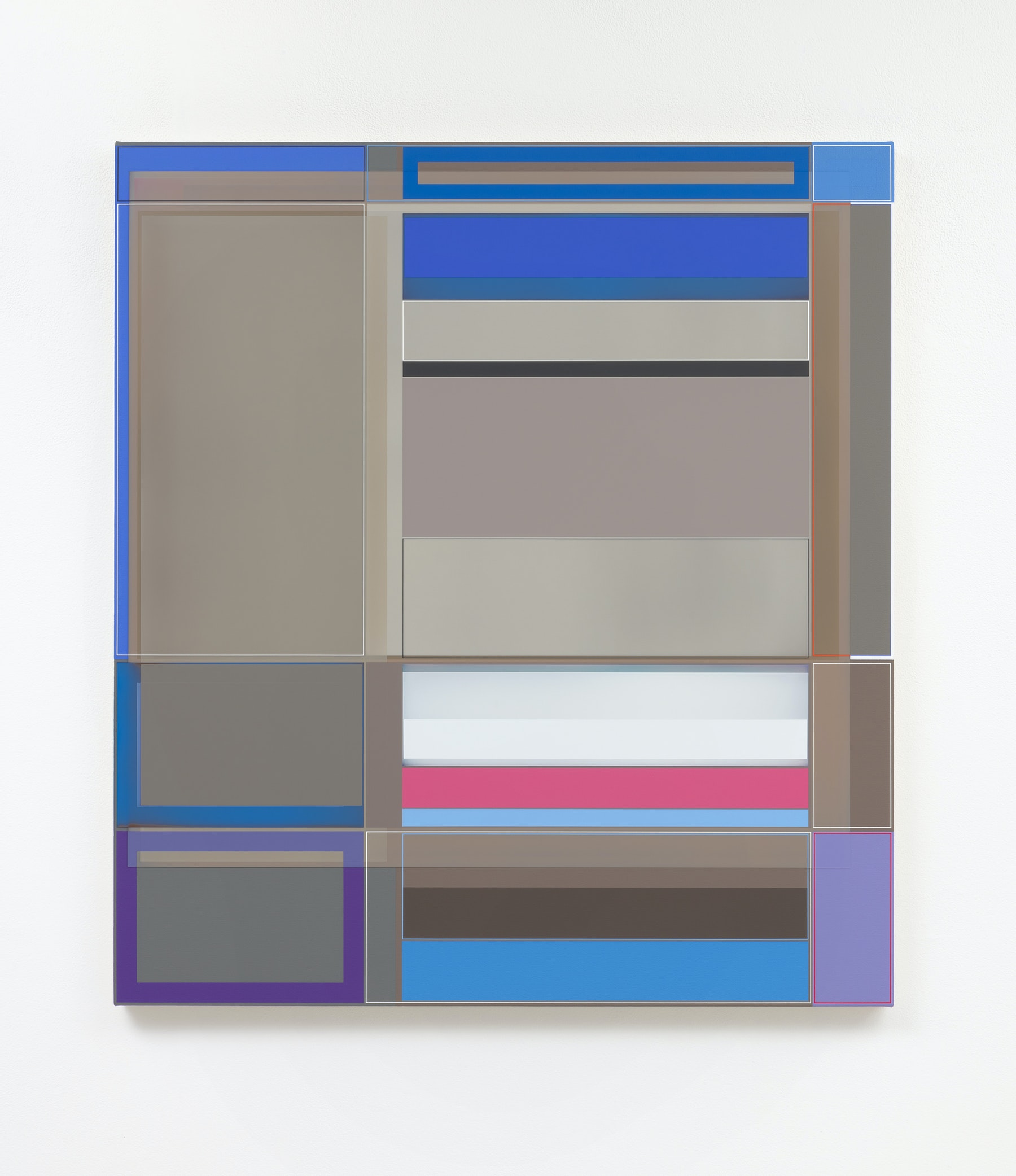 """Patrick Wilson """"Disrupted Grid (Election),"""" 2020 Acrylic on canvas 41 x 37"""" [HxW] (104.14 x 93.98 cm) Inventory #WIL585 Courtesy of the artist and Vielmetter Los Angeles Photo credit: Robert Wedemeyer"""