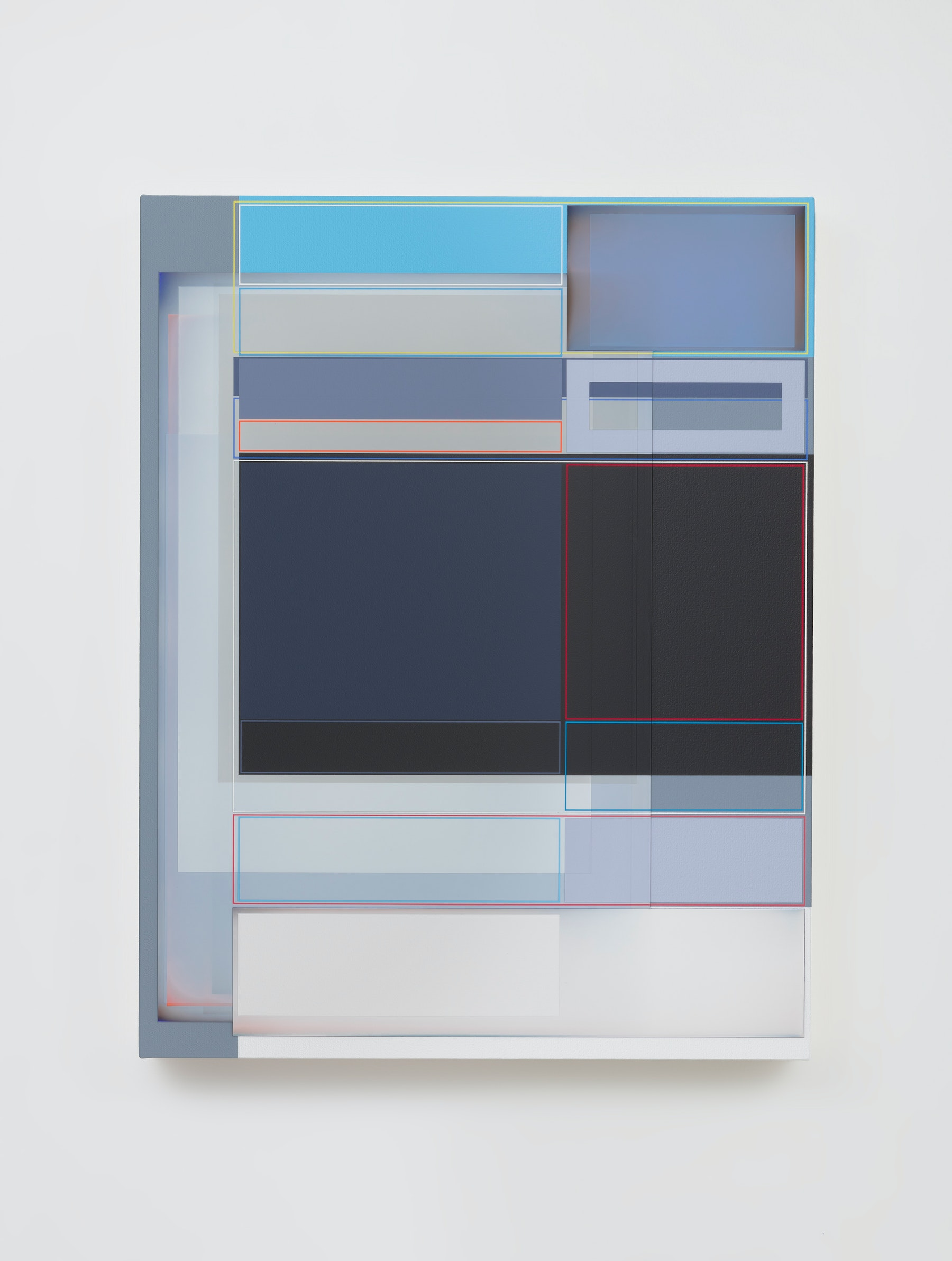 """Patrick Wilson """"Disrupted Grid (Democracy),"""" 2021 Acrylic on canvas 27"""" x 21"""" [HxW] (68.58 x 53.34 cm) Inventory #WIL592 Courtesy of the artist and Vielmetter Los Angeles Photo credit: Robert Wedemeyer"""