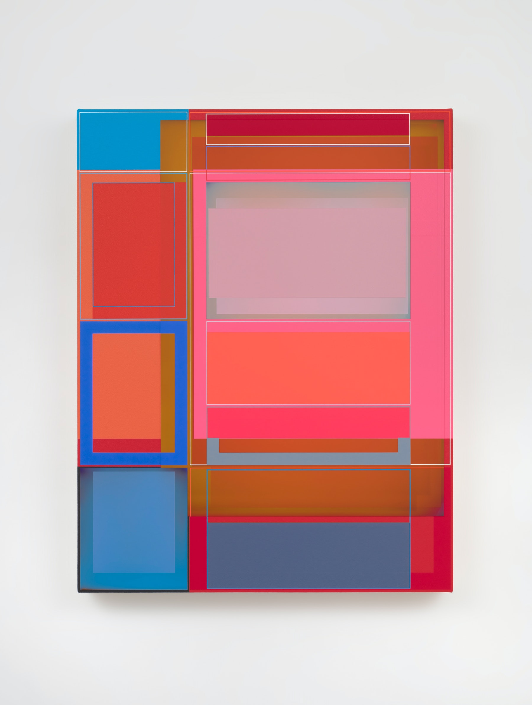 """Patrick Wilson """"Disrupted Grid (Truth),"""" 2021 Acrylic on canvas 27"""" x 21"""" [HxW] (68.58 x 53.34 cm) Inventory #WIL593 Courtesy of the artist and Vielmetter Los Angeles Photo credit: Robert Wedemeyer"""