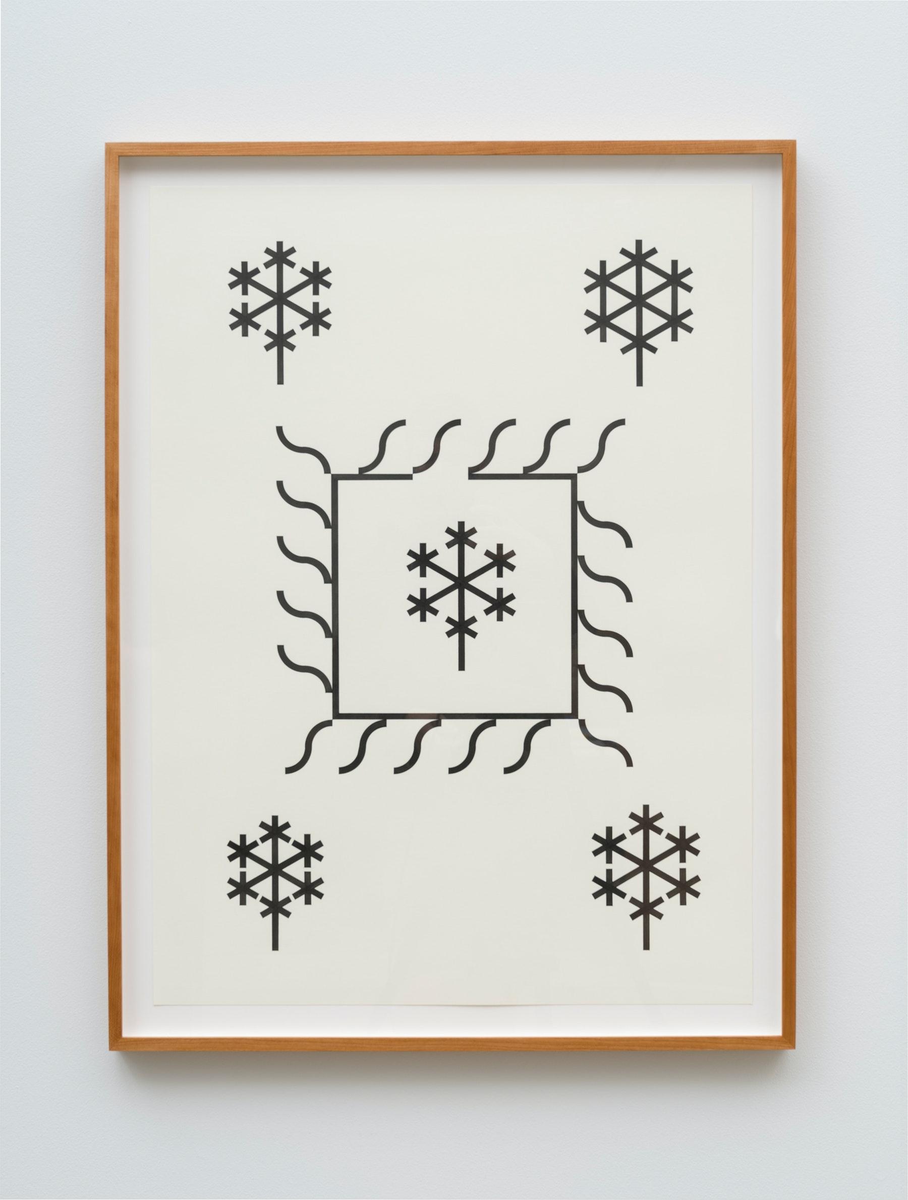 """Claire Nereim """"Garden quilt (geranium variation),"""" 2019 Ink on paper, Cherry frame 30 x 22"""" [HxW] (76.2 x 55.88 cm) unframed; 33 x 25 x 1.5"""" [HxWxD] (83.82 x 63.5 x 3.81 cm) framed Inventory #WS1031 Photo credit: Jeff Mclane"""