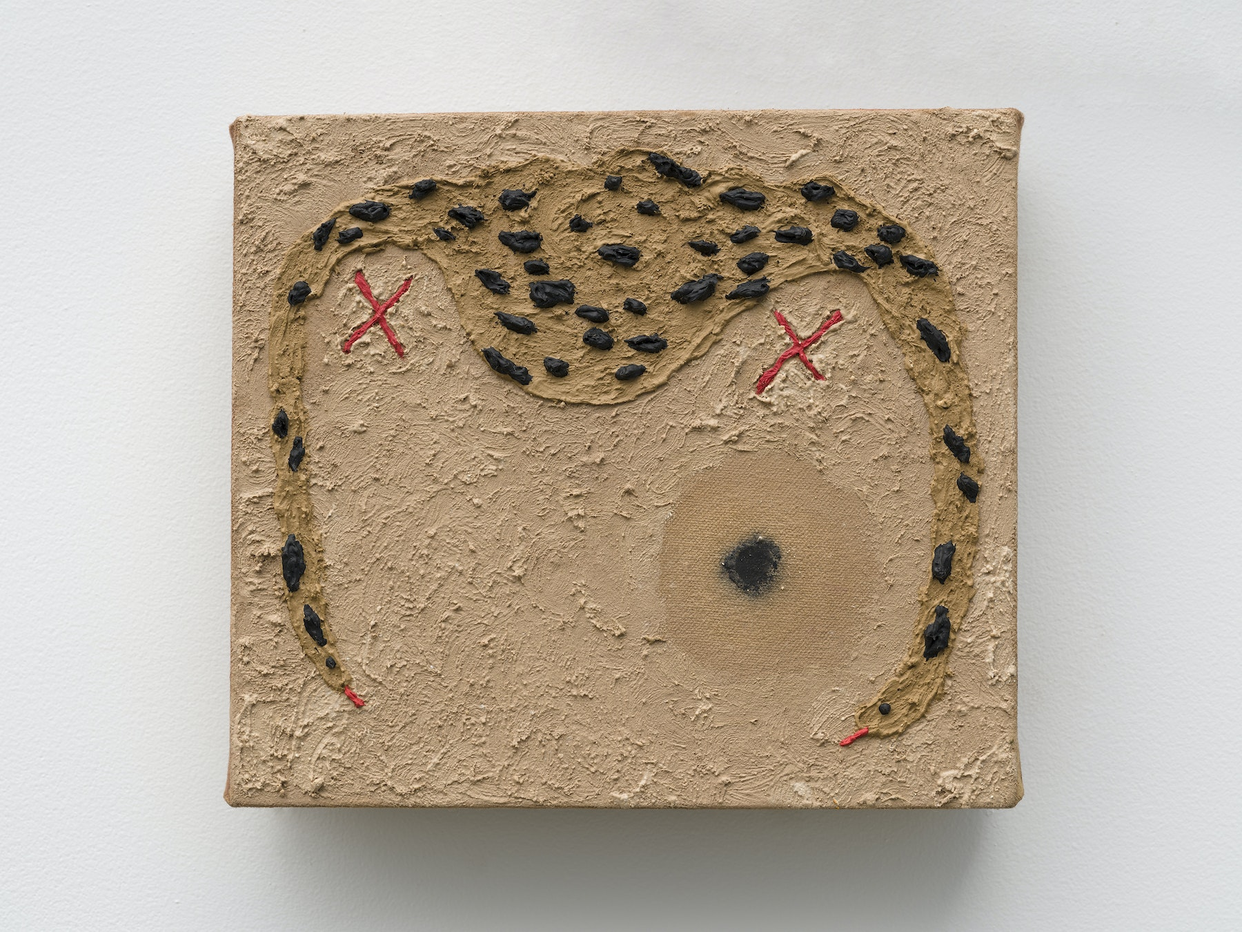 "Akina Cox ""Condition (XXV),"" 2020 Lime, bone, marble, ochre, linseed oil on tea dyed canvas 7.5 x 8.5 x 1.75"" [HxWxD] (19.05 x 21.59 x 4.45 cm) Inventory #WS1041 Photo credit: Jeff Mclane"
