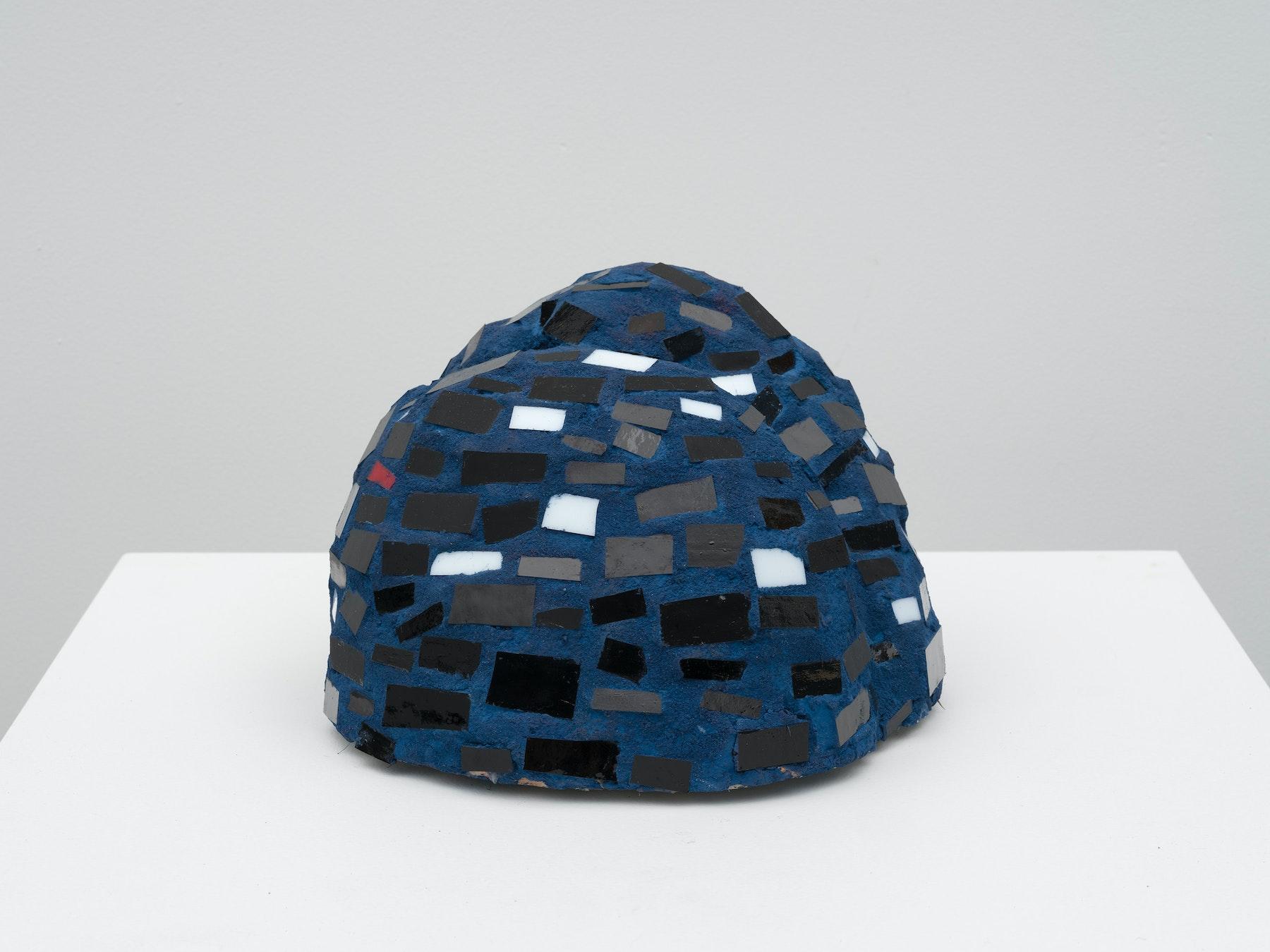 "Akina Cox ""Niki (Blue, Black, White),"" 2020 Glass, clay, grout, cement 6.75 x 8.75 x 9"" [HxWxD] (17.15 x 22.23 x 22.86 cm) Inventory #WS1046 Photo credit: Jeff Mclane"