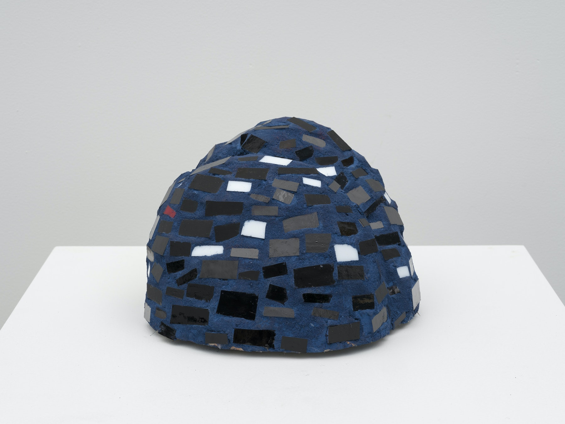 "Akina Cox ""Niki (Blue, Black, White),"" 2020 Glass, clay, grout, cement 6.75 x 8.75 x 9"" [HxWxD] (17.15 x 22.23 x 22.86 cm) Inventory #WS1046 Photo credit: Jeff Mclane"