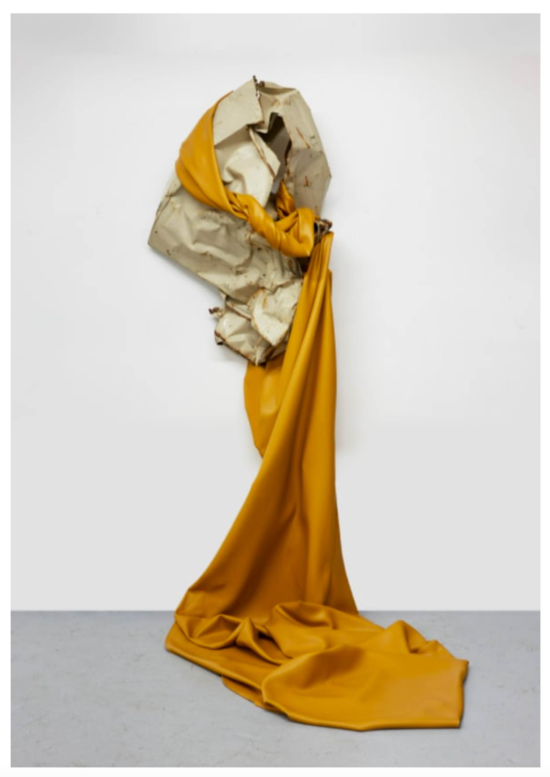 """Kennedy Yanko """"Remnants of Rust on My Face,"""" 2021 Paint skin, metal, steel cable 101"""" x 70"""" x 61"""" [HxWxD] (256.54 x 177.8 x 154.94 cm) Inventory #YAN1019 Courtesy of the artist and Vielmetter Los Angeles Photo credit: Martin Parsekian"""