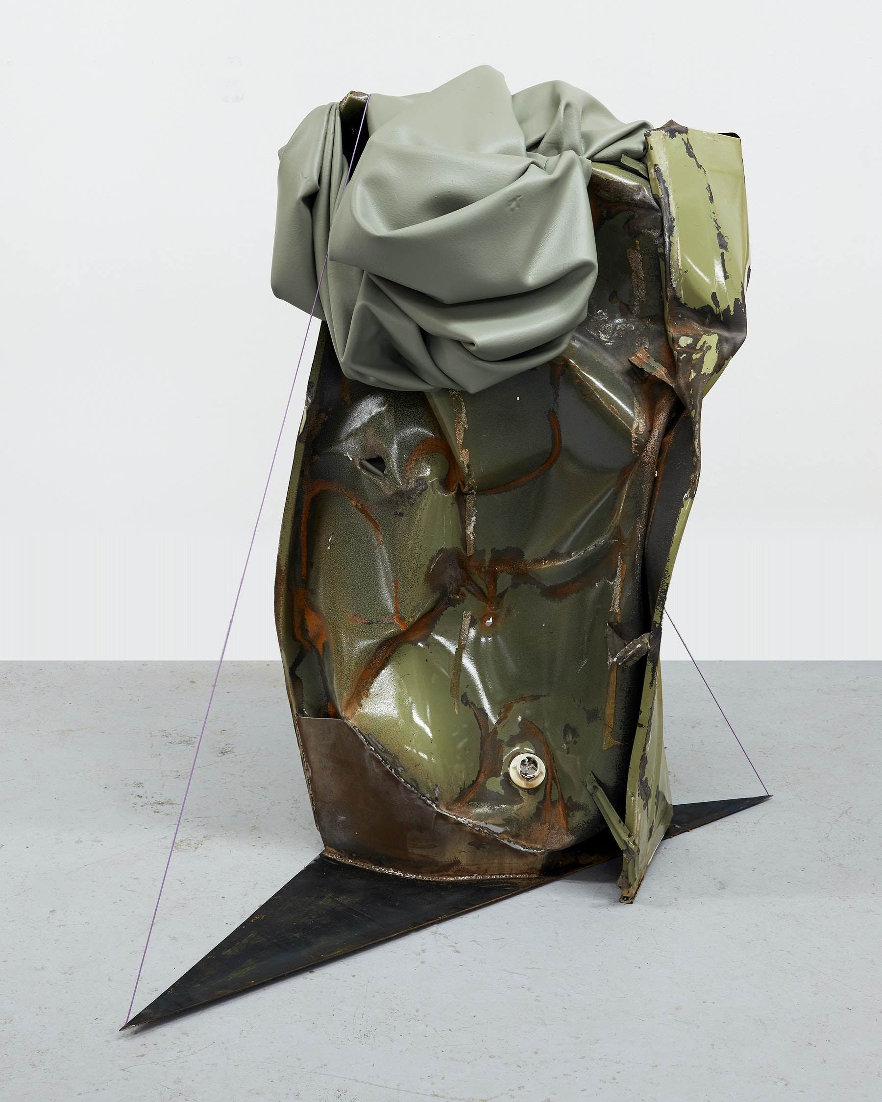 """Kennedy Yanko """"The Cold on My Back,"""" 2021 Paint skin, metal, steel cable 61"""" x 64"""" x 35"""" [HxWxD] (154.94 x 162.56 x 88.9 cm) Inventory #YAN1021 Courtesy of the artist and Vielmetter Los Angeles Photo credit: Martin Parsekian"""